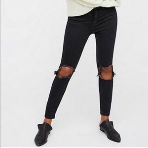 Free People Busted knee High Rise Distressed Jeans